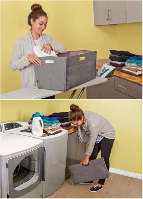 Компактная корзина для белья, которую в случае необходимости можно сложить и спрятать в любую щель.
