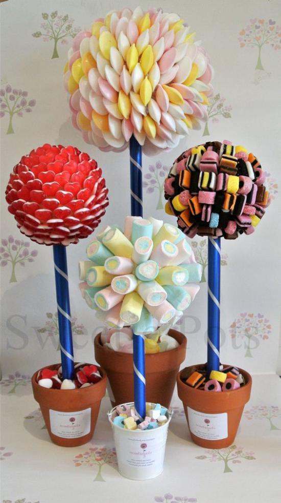 Сладкие топиарии из конфет