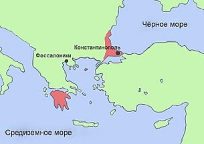Византия на карте в период упадка 1453 год