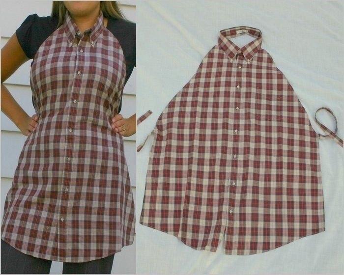 Фартук для дома, сделанный из старой мужской рубашки