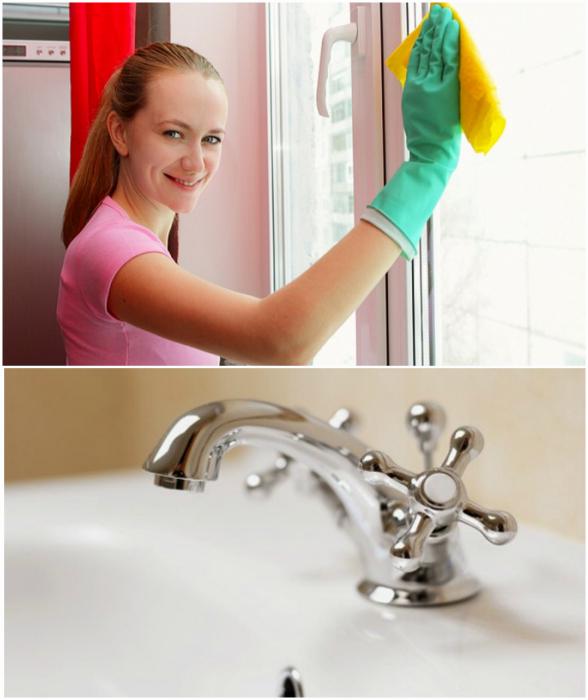 Мытье стеклянных, пластиковых и металлических поверхностей.