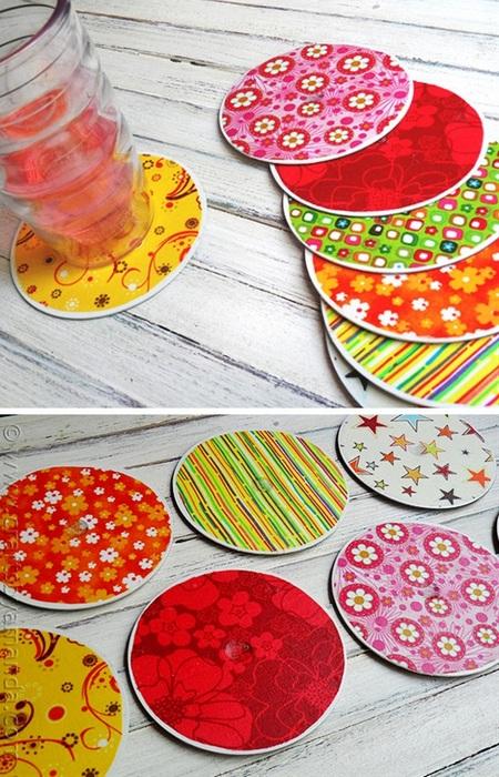 Подставки для чашек и стаканов из дисков.