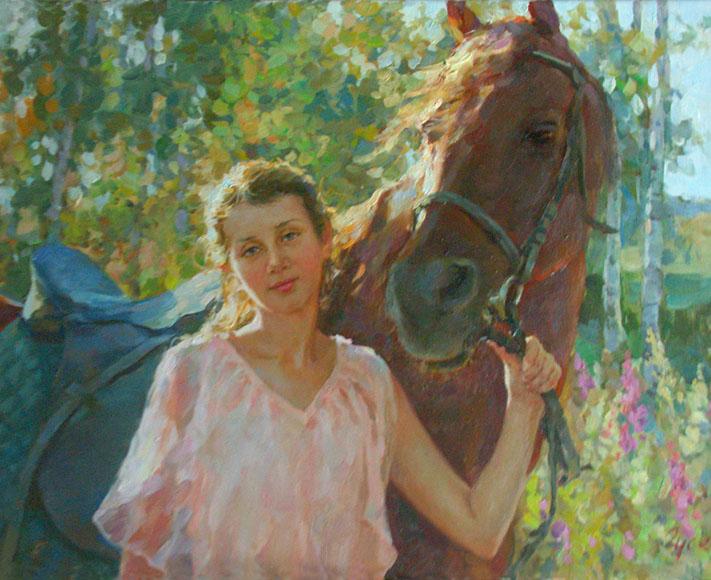Перед прогулкой, Владимир ГуÑев- картина, девушка Ñ Ð»Ð¾ÑˆÐ°Ð´ÑŒÑŽ, леÑ, летний день, импреÑÑиониÐм