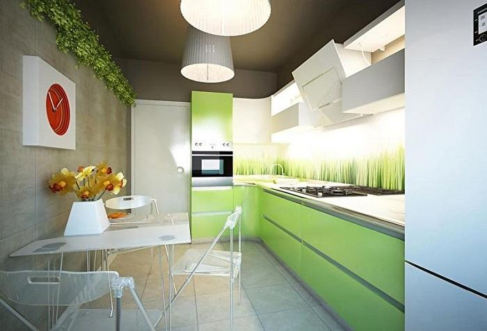 Кухня в таком цвете будет всегда радовать вас, и напоминать о теплых летних днях.