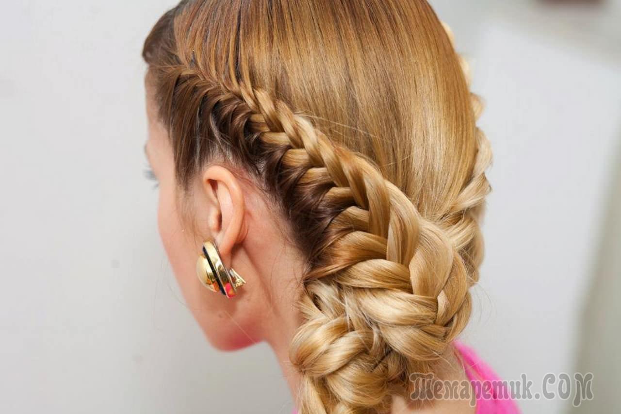 плетение косы с лентой пошагово схема