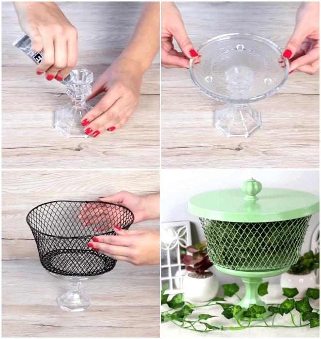 Декоративная ваза для фруктов, конфет или зелени. | Фото: Своими руками.