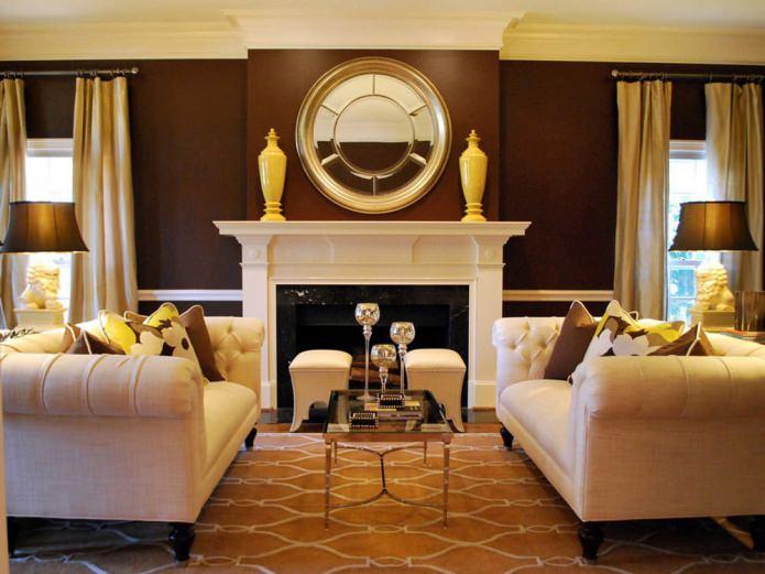 Желто-коричневый цвет в интерьере гостиной