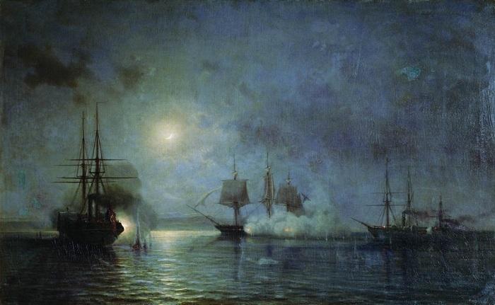Ночное нападение на 44-пушечный фрегат «Флора» с 5 на 6 ноября 1853 года. (1857). Автор: Алексей Петрович Боголюбов.