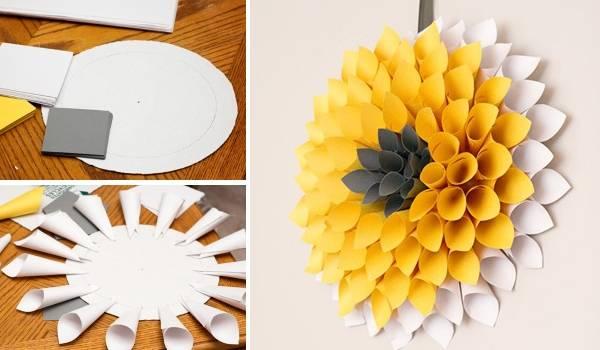 Как сделать осенний венок на дверь из бумаги