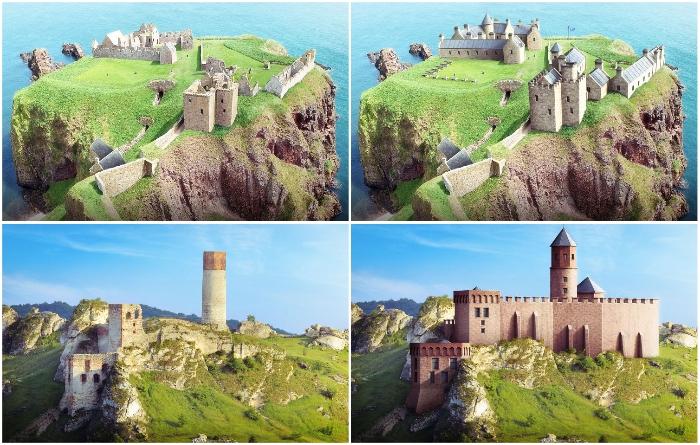 Как выглядели старинные замки до того, как превратились в руины: виртуальные путешествия. | Фото: budgetdirect.com.au.