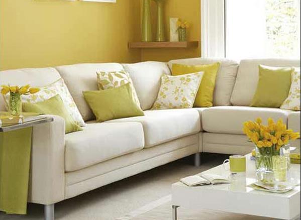 Жёлто-белая комбинация в интерьере