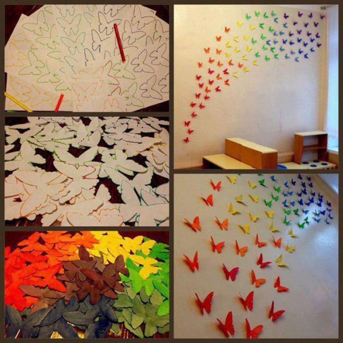 Аппликация из бабочек на стене.