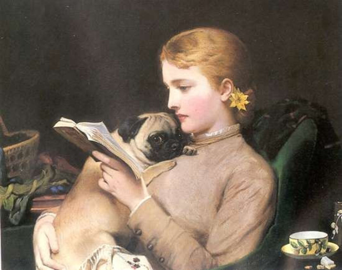 «Блондинка и ее брюнетка-мопс» /Charles Burton Barber