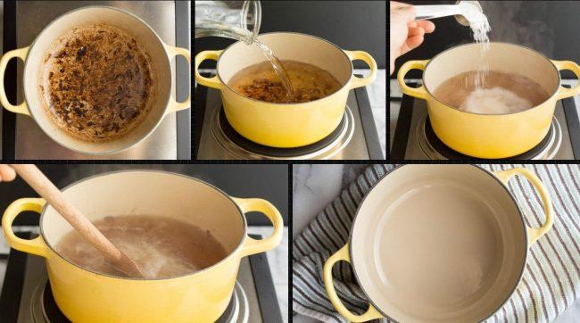 Процесс и результат чистки эмалированной кастрюли