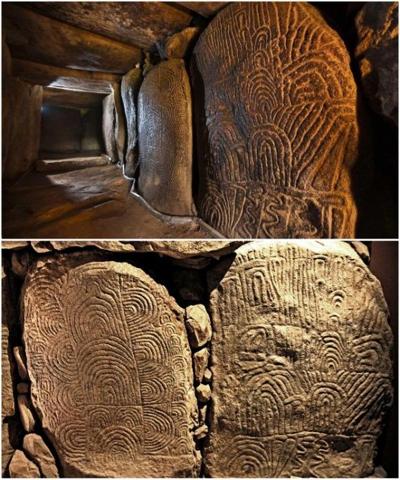 Богато украшенные стены внутри мавзолея являются самым большим памятником мегалитического искусства в Европе.   Фото: patrimoine-environnement.fr.