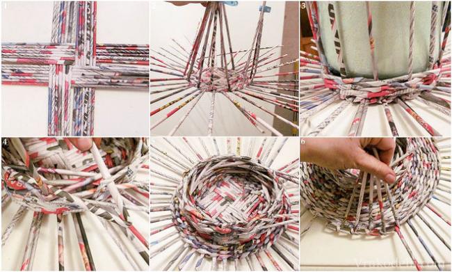 Принцип плетения из газетных трубочек заключается в постепенном оплетении выбранной формы
