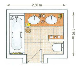 схема планировки ванной с двумя раковинами