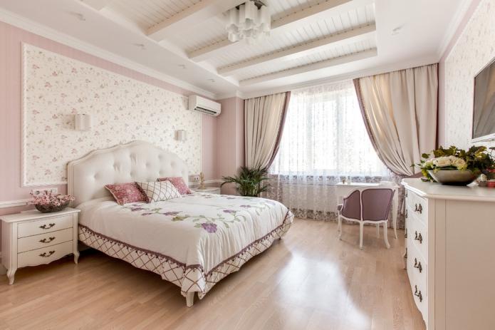 розовая цветовая гамма в спальне