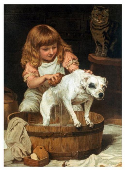 «Принятие ванны» /Charles Burton Barber
