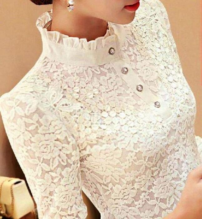 Царственная элегантность - кружевная блузка, прекрасный вариант светских приемов.