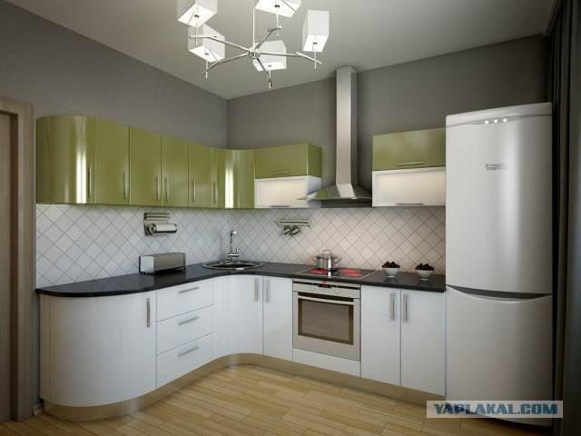 Современная кухня с гнутыми фасадами