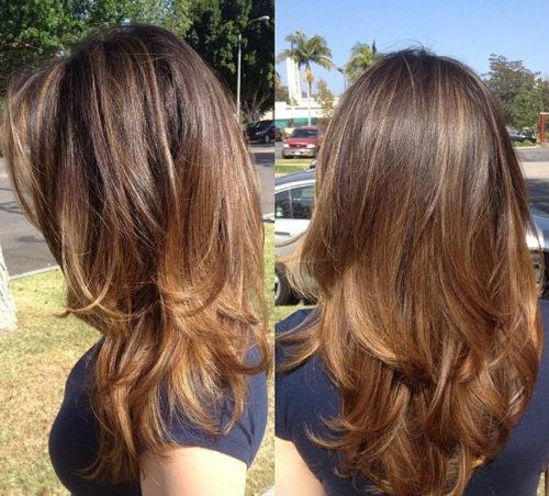 каскад для средней длины волос