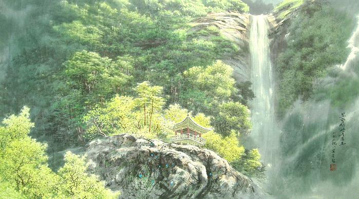 로유담_02.1_묘향산 산주폭포 - Горный массив Мёхянсан. Водопад Санджу (700x389, 452Kb)