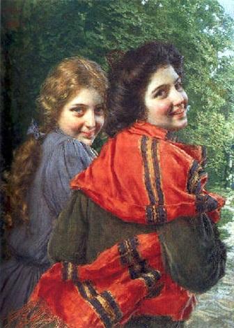 deux jeunes filles souriant by gaetano bellei