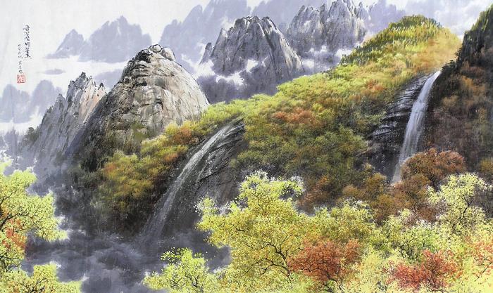 로유담_01.2_금강산 비봉포 - Горный хребет Кымгансан. Водопад Пибон (700x417, 478Kb)
