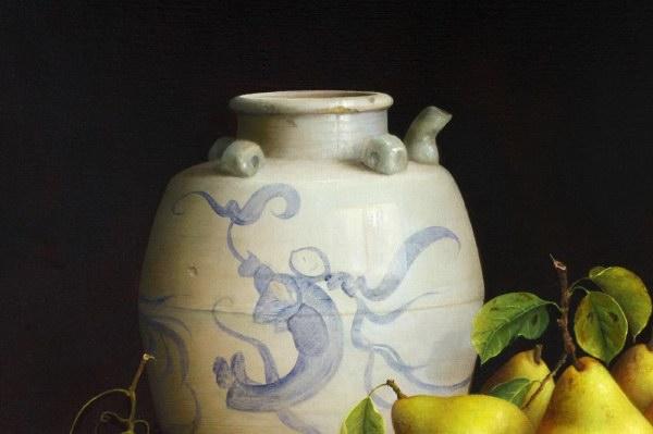 Pears Grapes & Oil Jar (600x399, 38Kb)