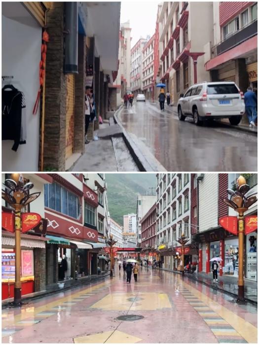 В городе узкие улочки и в большинстве случаев – пешеходные (Яньцзинь, Китай).