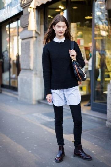 Ophélie Guillermand в обтягивающих джинсах, длинной рубахе и кофте