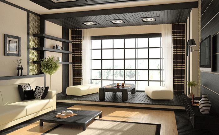 Японскому интерьеру свойственна приземистая мебель