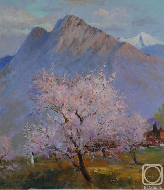 Картина маслом на холсте. Комаров Николай. Миндаль цветет