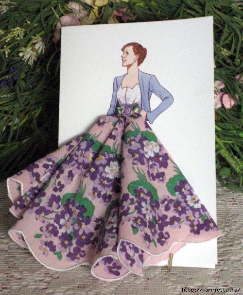 Винтажные открытки с дамами из носовых платков