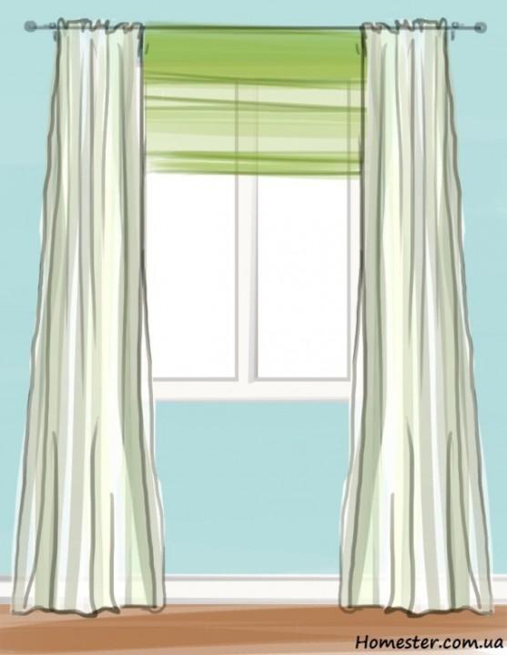 Как оформить шторами прямоугольное окно-двойку