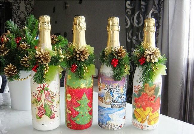 Декупаж бутылки - оригинальное и яркое решение для новогоднего стола