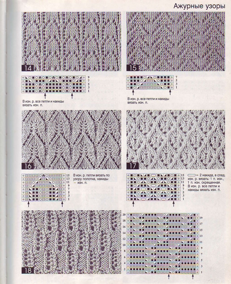 Схемы картинок вязок на спицах