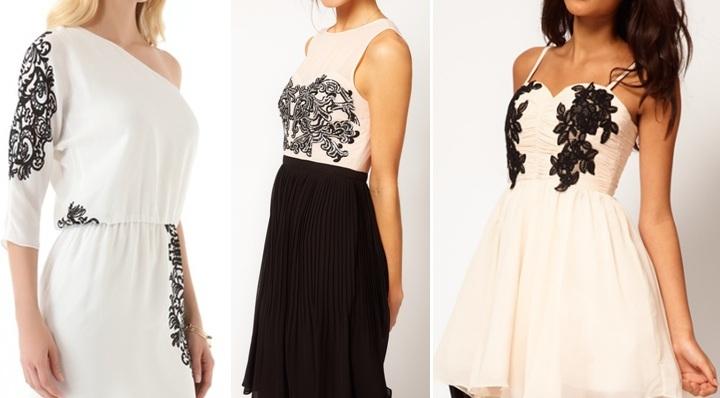 Украшение платья кружевом