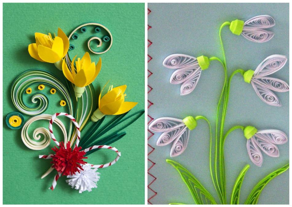 Открытки в стиле квиллинга на 8 марта, открытки марту