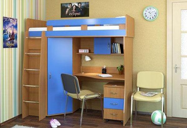 Кровать-чердак встроенным шкафом и столом