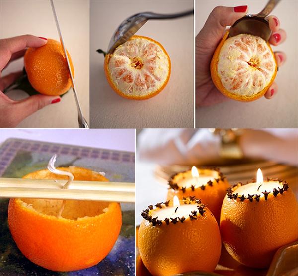свечи из мандарина