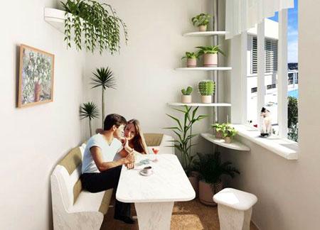 Небольшая столовая в однокомнатной квартире