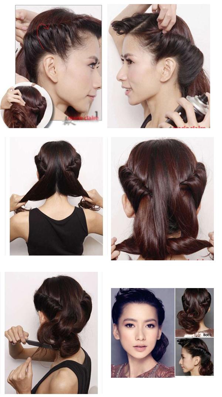 Как сделать быстро красивую прическу с средними волосами 716