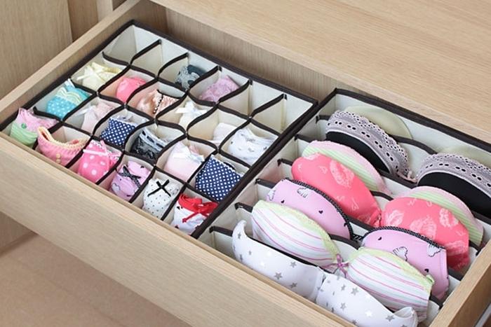 Хранение белья в выдвижном ящике