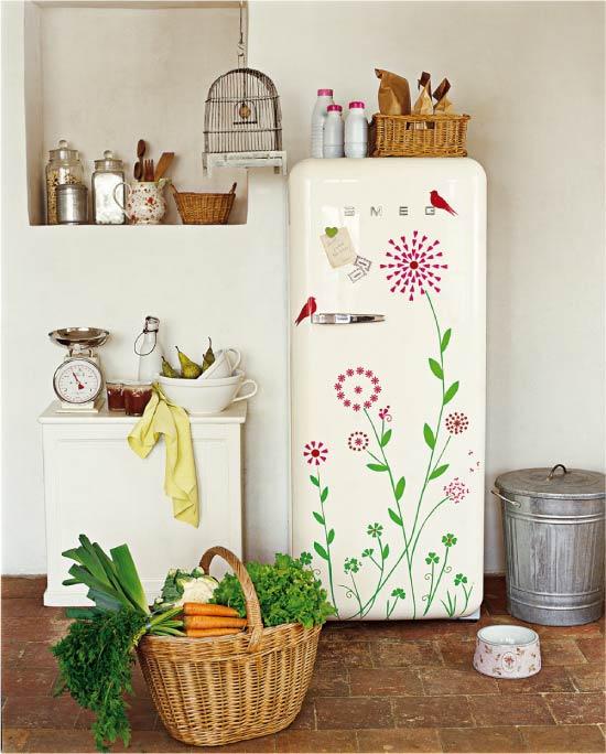 Декор холодильника наклейками