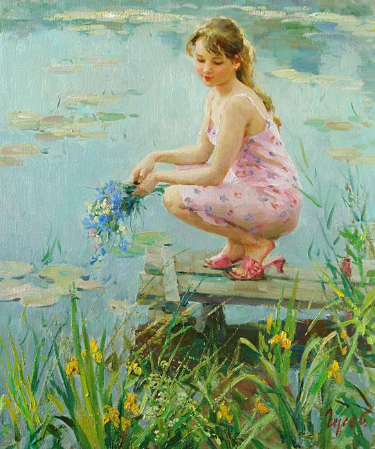 Ðа моÑтике, Владимир ГуÑев- картина, девушка, летний день, моÑтик у реки, букет цветов