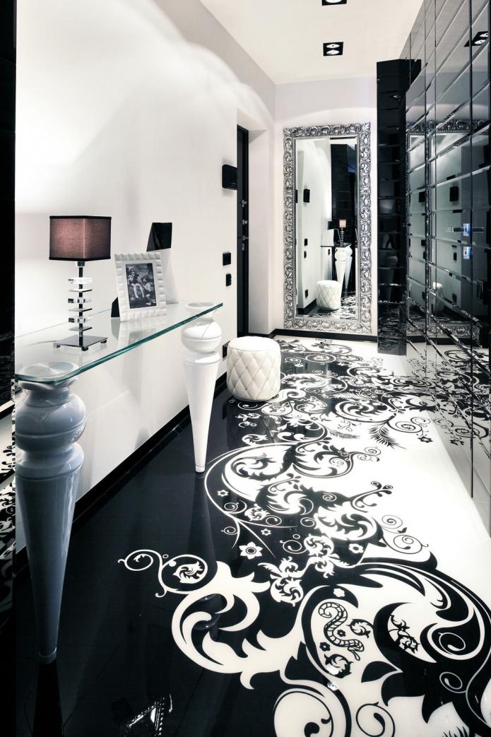 Современный дизайн прихожей в черно-белом цвете