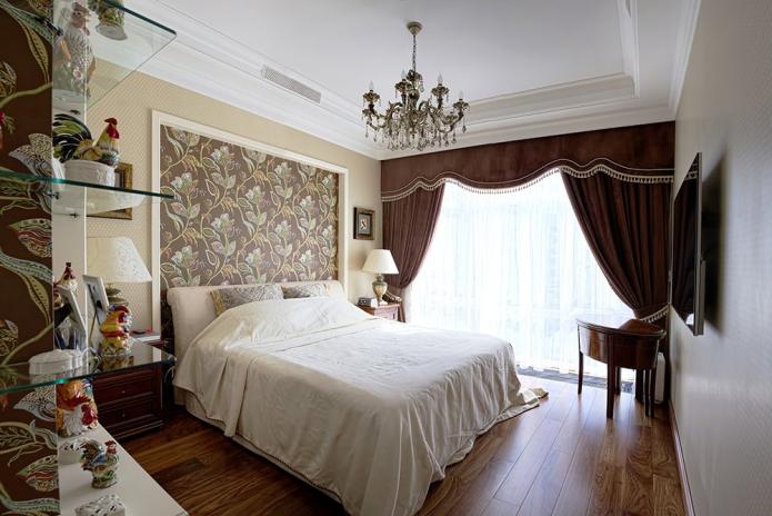 декорирование стены над изголовьем в спальне