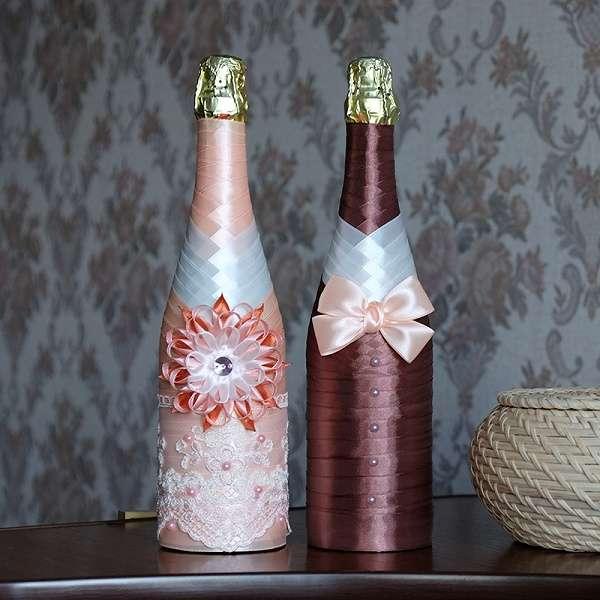 Как украсить бутылку шампанского своими руками на 8 марта лентами